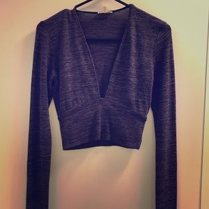 Purple Long Sleeve Crop Top